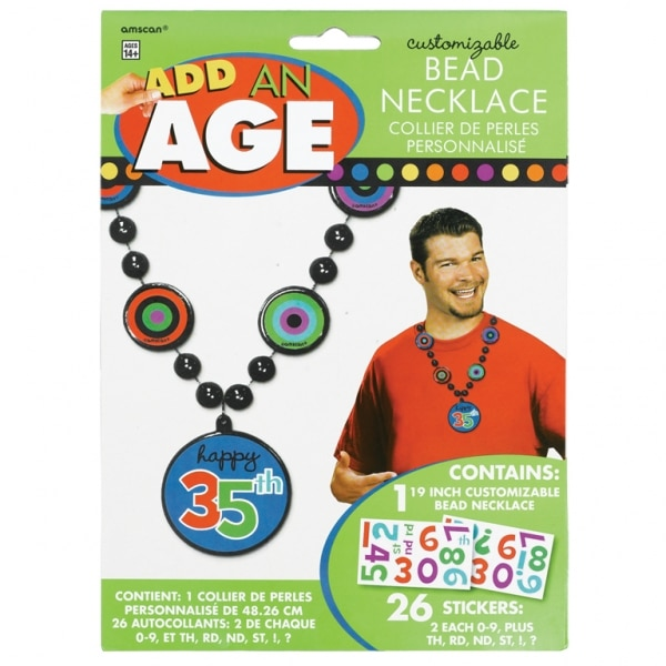Dots & Stripes Add-An-Age Bead Necklace For Him - 50cm -0