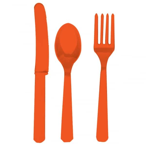 Orange Plastic Cutlery - Knives, Forks and Spoons for 8 Guests-0