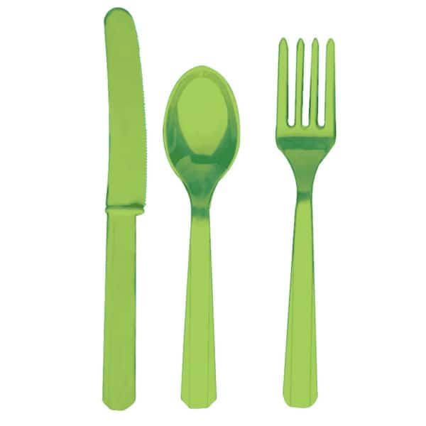 Kiwi Green Cutlery - Knives, Forks and Spoons for 8 Guests-0