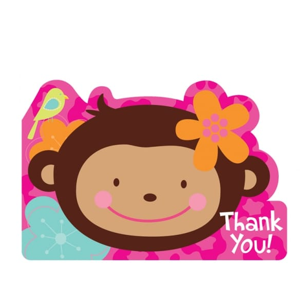 Monkey Love Postcard Thank You Cards - Pack of 8-0