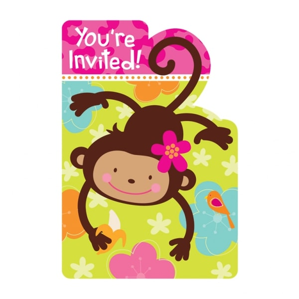 Monkey Love Invitations & Envelopes 9.8cm x 14.2cm-0