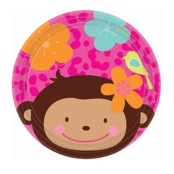 Monkey Love Paper Plates 17.7cm - Pack of 8-0