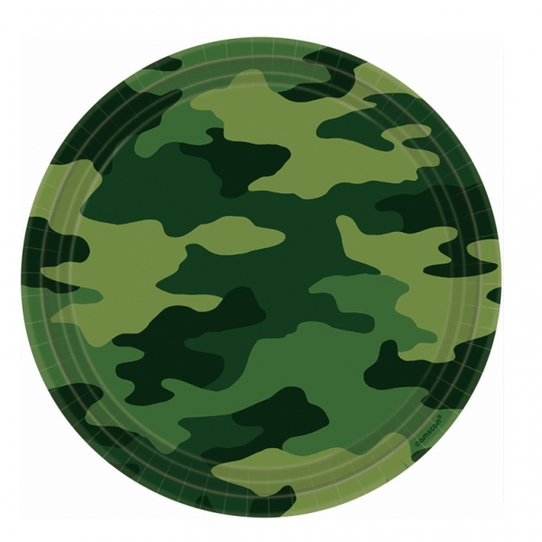 Camouflage Party Paper Plates 22.8cm - Pack of 8-0