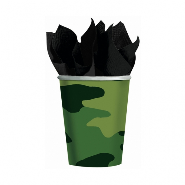 Camouflage Party Paper Cups 266ml - Pack of 8-0