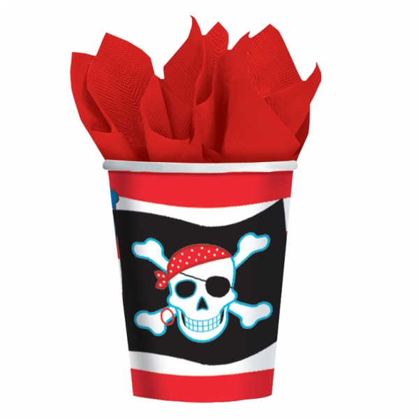 Pirate Party Paper Cups 266ml - Pack of 8-0