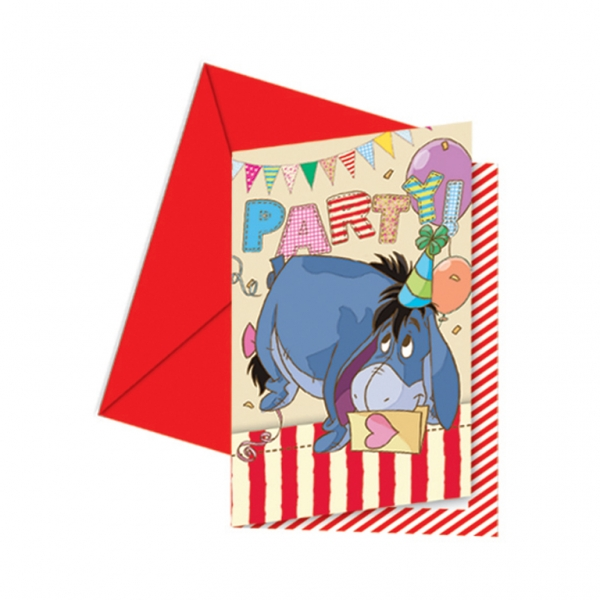 Winnie the Pooh Invitations and Envelopes - 14cm x 9cm -0