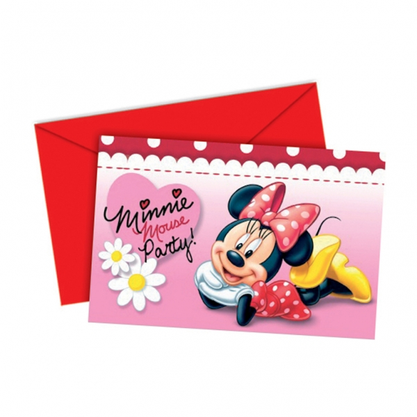 Minnie Mouse Polka Dots Invitations & Envelopes - 14cm x 9cm - Pack of 6-0