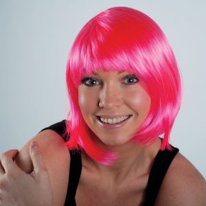 Girl's Night Out Pink Bobbed Wig (one size fits most)-0