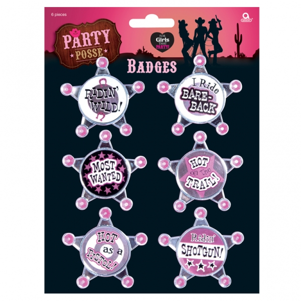 Party Posse Badges - Pack of 6-0