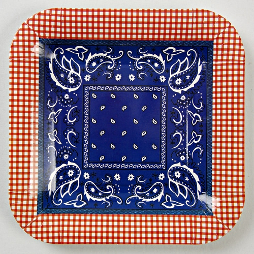 """Howdy Cowboy Party 7"""" Square Plates - Pack of 12-0"""