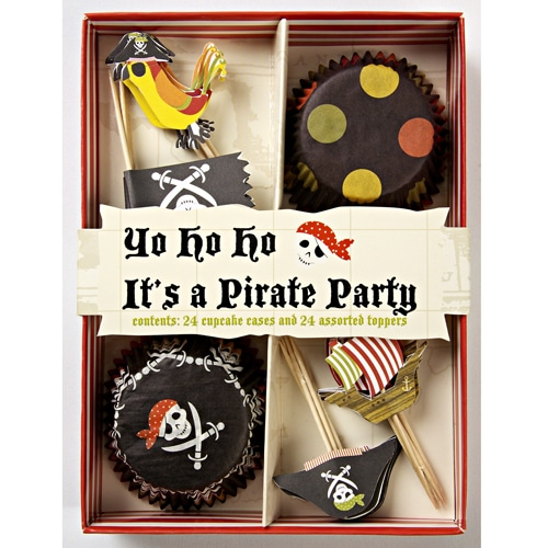 Yo Ho Ho Pirate Party Cupcake Kit - 24 Cases and 24 Toppers-0