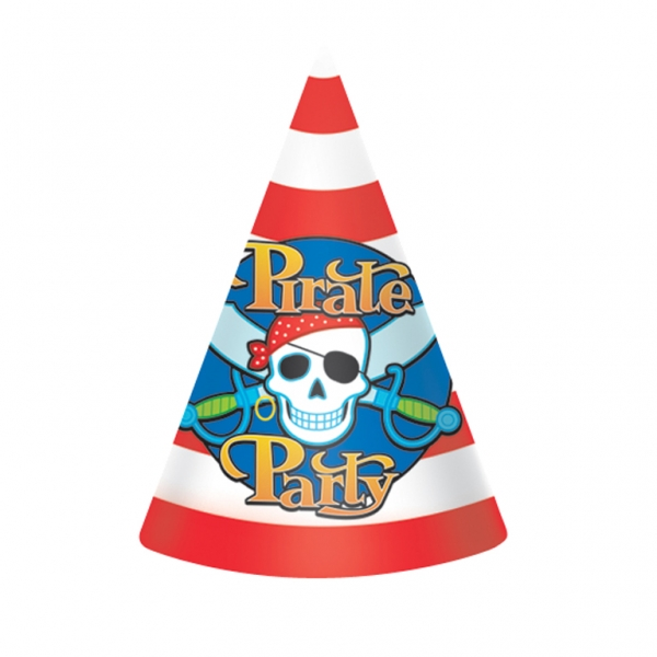 Pirate Party Cone Hats 17.7cm - Pack of 8-0