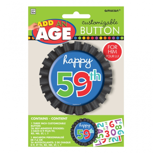 Dots & Stripes Customisable Happy Birthday Button-0