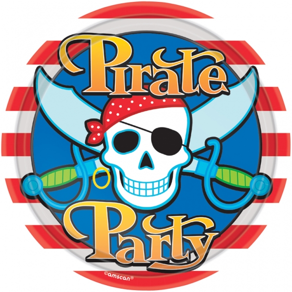 Pirate Party Plates 22.8cm - Pack of 8-0