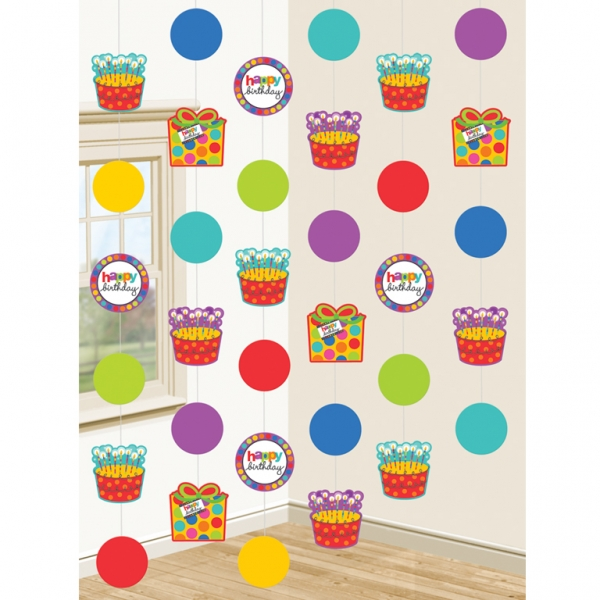 Dots & Stripes Happy Birthday String Decorations - 2.1m - Pack of 6-0
