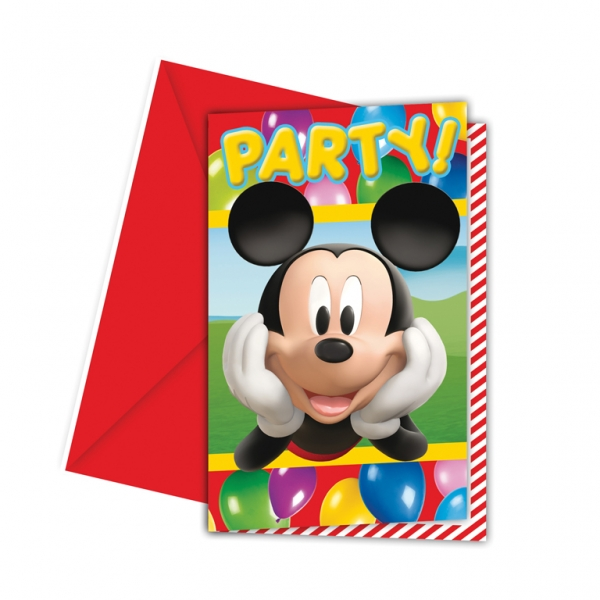 Mickey Mouse Invitations & Envelopes - Pack of 6-0
