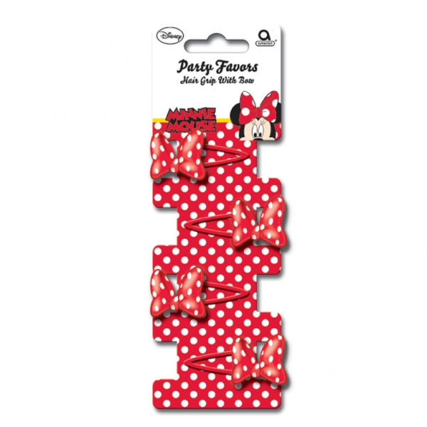 Minnie Mouse Bow Hair Grips - Pack of 4-0