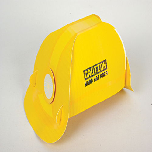 "Yellow Hard Hat "" Caution Hard Hat Area"" - Box of 8 Hats-0"