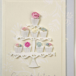 "Cupcake Tower Handmade Card ""Congratulations""-0"
