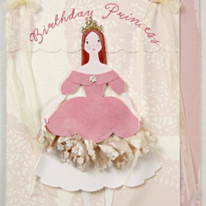 Princess Handmade Birthday Card with Floral Decorations-0