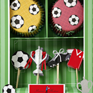 Its a Goal Football Theme Cupcake Kit - 24 Cases and 24 Toppers-0