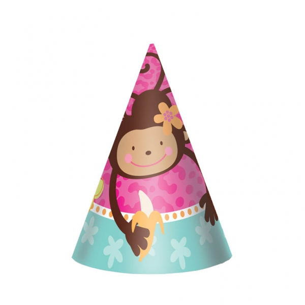 Monkey Love Cone Hats 15.2cm - Pack of 8-0