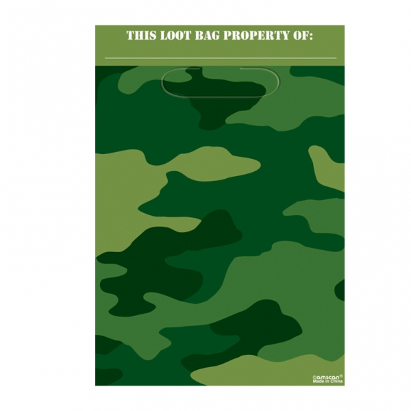 Camouflage Party Folded Loot Bags 22.8cm x 16.5cm - Pack of 8-0