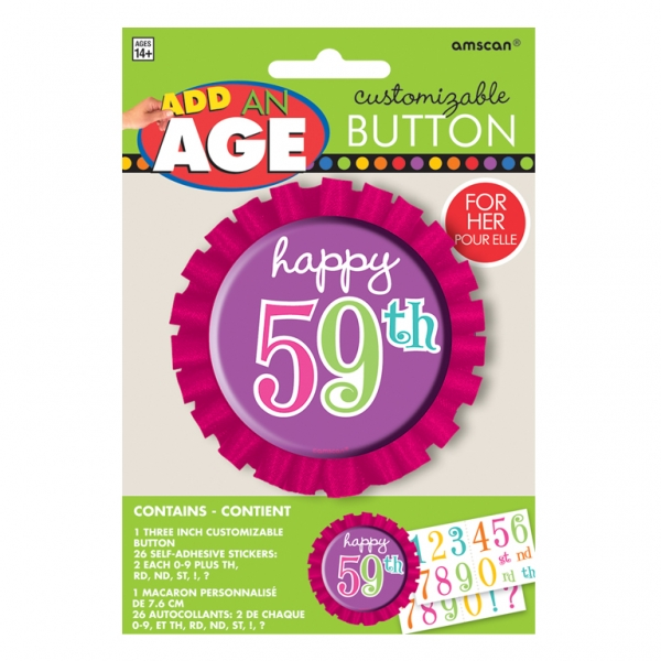 Dots & Stripes Customisable Happy Birthday Button - 7.6cm -0