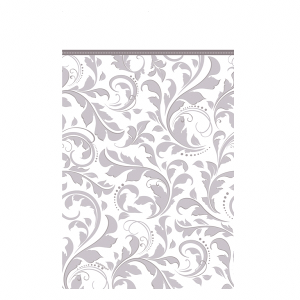 Silver Elegant Scroll Paper Tablecover -0