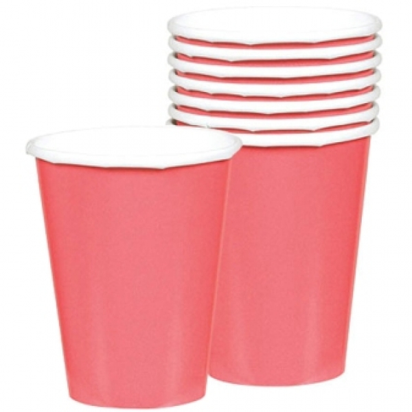 Pretty Pink Paper Cups 266ml - Pack of 8-0