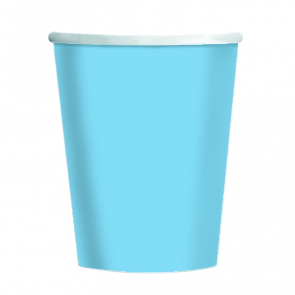 Powder Blue Paper Cups 266ml - Pack of 8-0