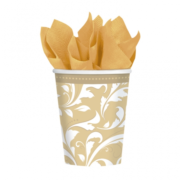 Gold Elegant Scroll Paper Cups 266ml - Pack of 8-0