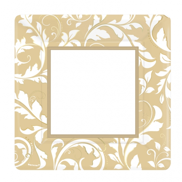 Gold Elegant Scroll Square Metallic Paper Plates 25.4cm - Pack of 8-0