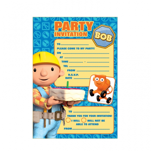 Bob the Builder Paper Invitations & Envelopes 14cm x 8cm - Pack of 20-0