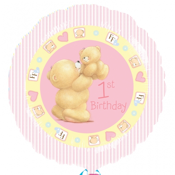 "Forever Friends First Birthday Girl Foil Balloon - 18""/45cm-0"