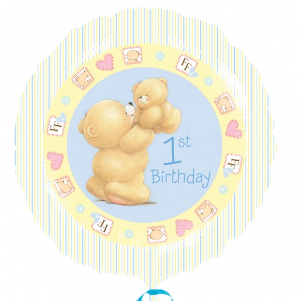 "Forever Friends First Birthday Boy Foil Balloon - 18""/45cm -0"