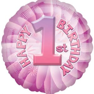 "Happy 1st Birthday Pink Circle Foil Balloon - 17""/42cm-0"