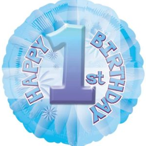 "Happy 1st Birthday Blue Circle Foil Balloon - 17""/42cm-0"