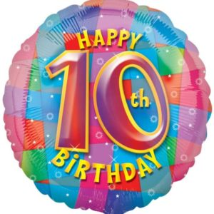 "Happy 10th Birthday Circle Foil Balloon - 17""/42cm-0"