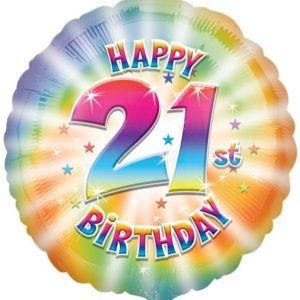 "Happy 21th Birthday Circle Foil Balloon - 17""/42cm-0"