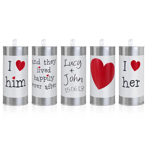 Wedding Car Cans - White and Silver with Hearts-0