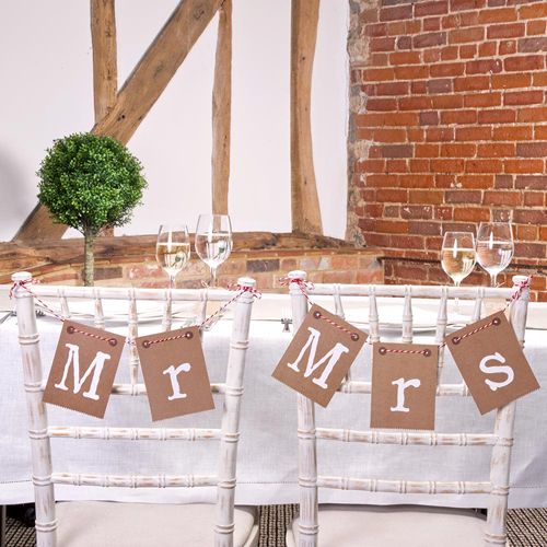Mr & Mrs Chair or Wall Bunting in Rustic Brown -0