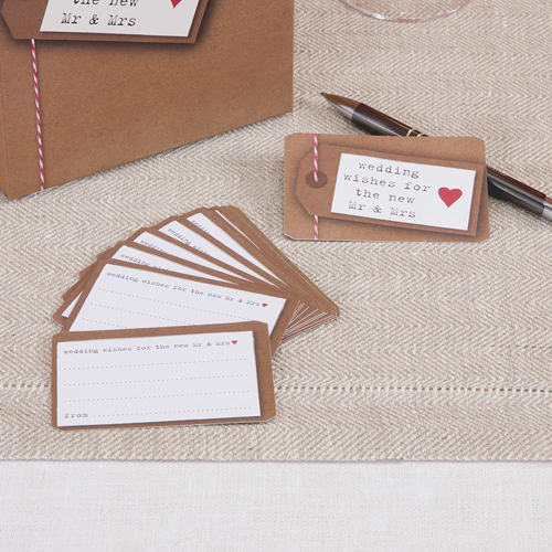 Wedding Wishes Cards in Rustic Brown - Pack of 25-0