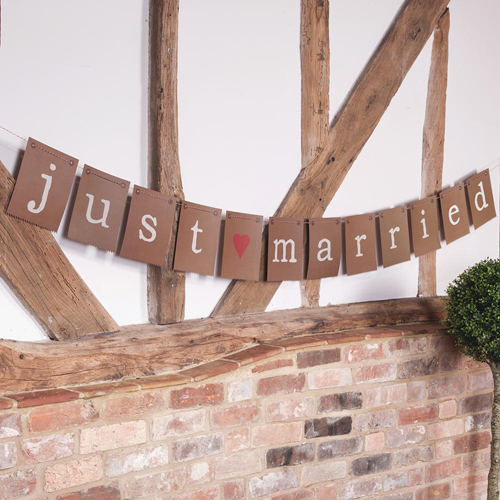 Just Married Banner in Rustic Brown-0