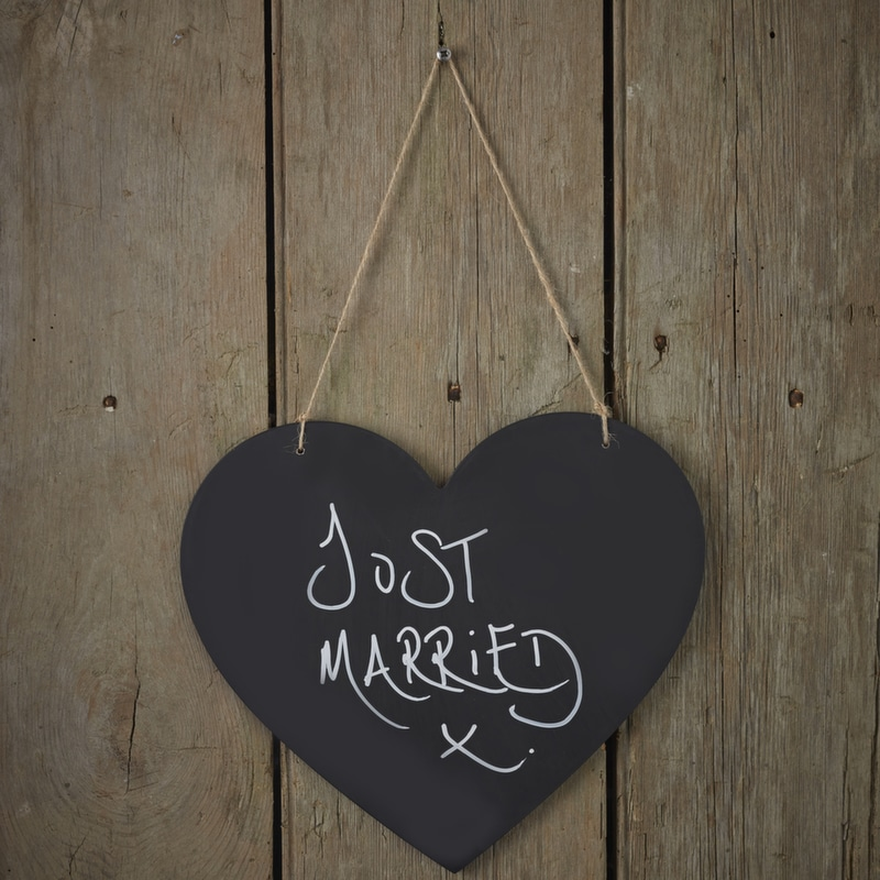 Chalkboard Wooden Hanging Heart - Vintage Affair-3752