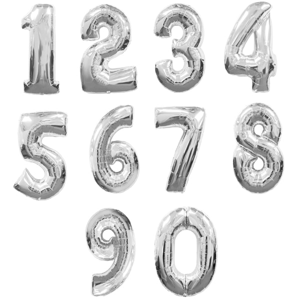 "30"" Silver Foil Number Balloons"