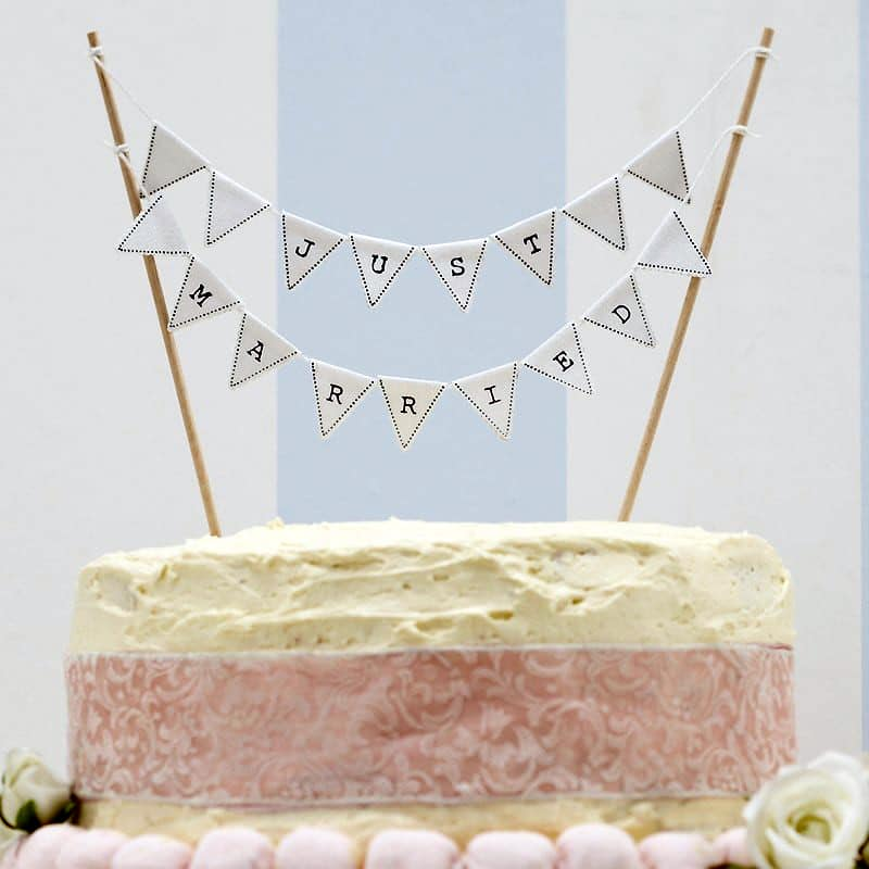 wedding cake topper bunting just married white cake topper bunting wedding and 26303