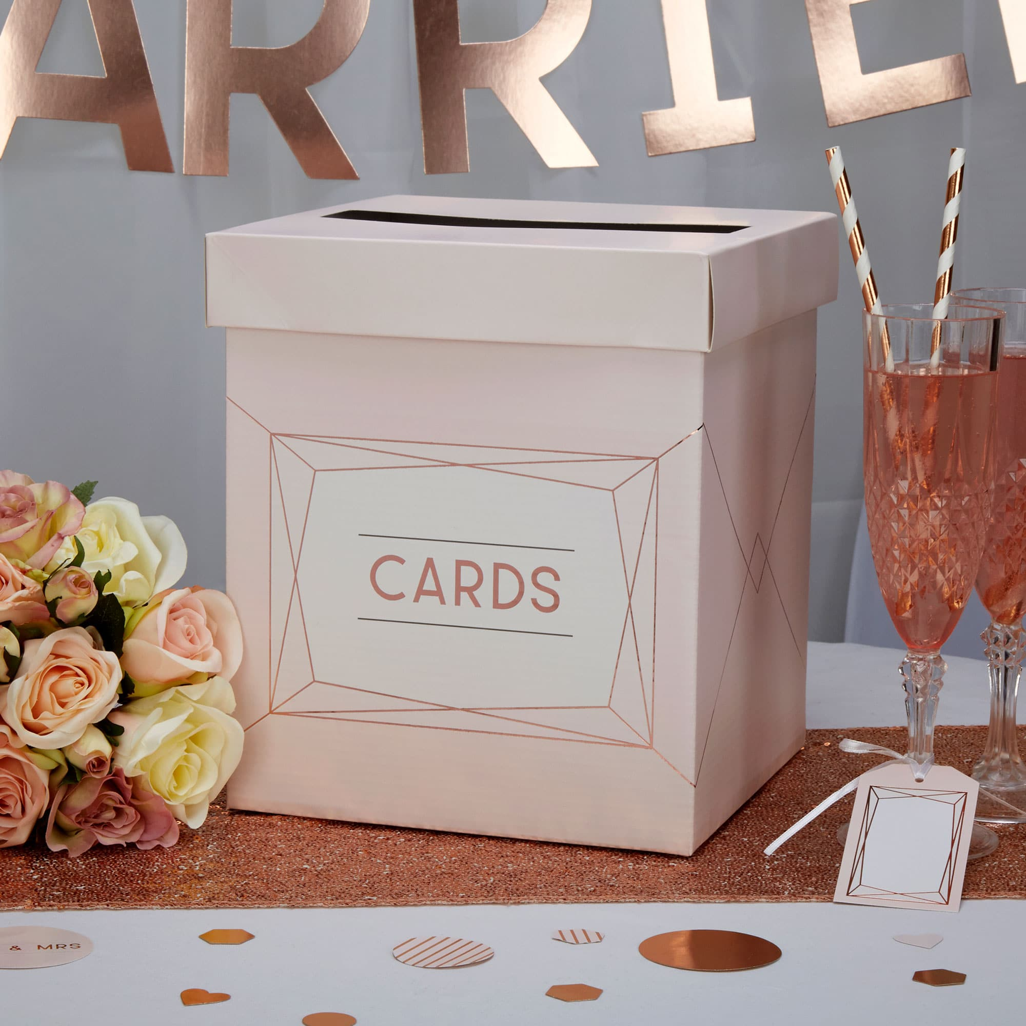 wedding card box in pink and rose gold wedding and party store
