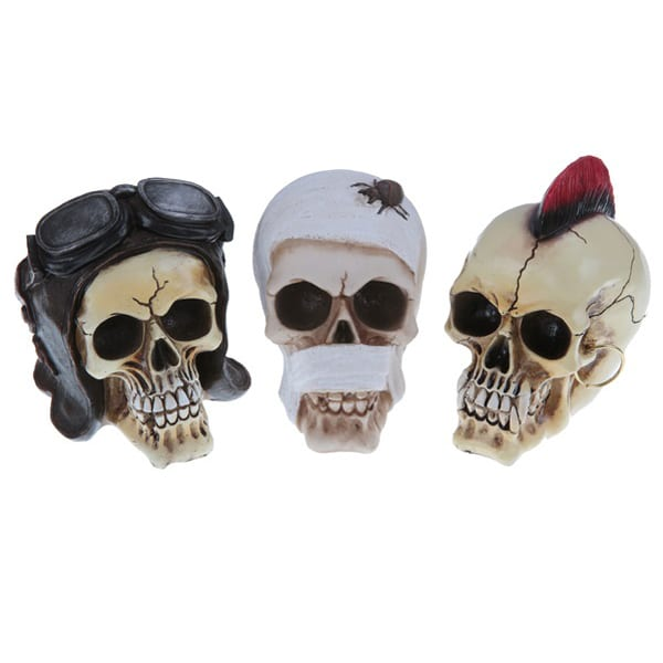 Skull Halloween Decorations Biker Bandaged And Mohican