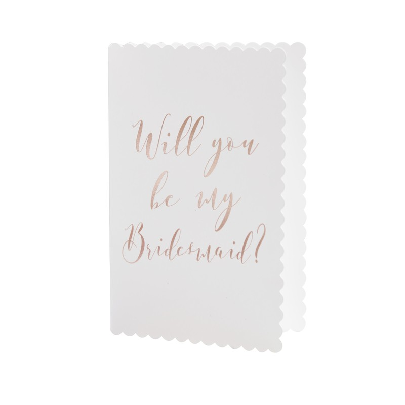 Rose Gold /'Will You Be My Bridesmaid Beautiful  Ginger ray /' Wedding Cards